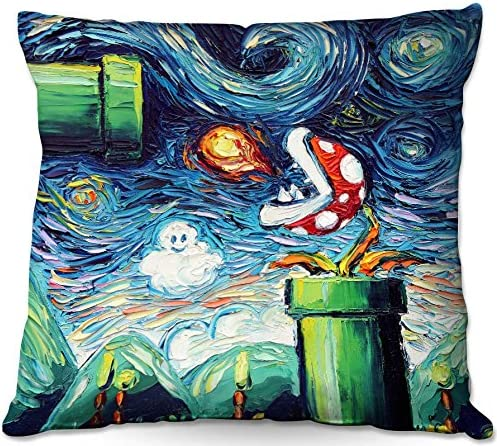 Decorative Woven Couch Throw Pillow from DiaNoche Designs by Aja Ann – Van Gogh Super Mario Bros 2