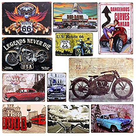Amazon.com: Jewh Plaque Car Theme Vintage Metal Tin Signs Motorcycle Wall Poster Decals - Plate Painting Bar Club Pub Home Decor Wall (20x30cm) (10): Home & ...