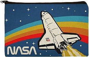 NASA Logo Over Space Shuttle with Rainbow Pencil Pen Organizer Zipper Pouch Case