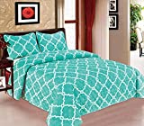 3-PC Quilted Bedspread Bed cover Coverlet Turquoise Colors King sizes