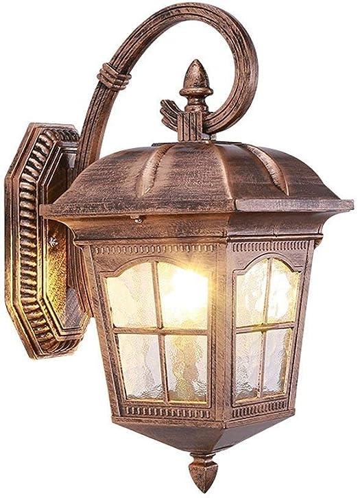 Luz Tradicional Iluminación Exterior De Lujo Villa Jardín Sala De Estar Lámpara De Pared A Prueba De Agua 38 X 23.5 Cm (color: Bronce) Lámpara de pared: Amazon.es: Iluminación