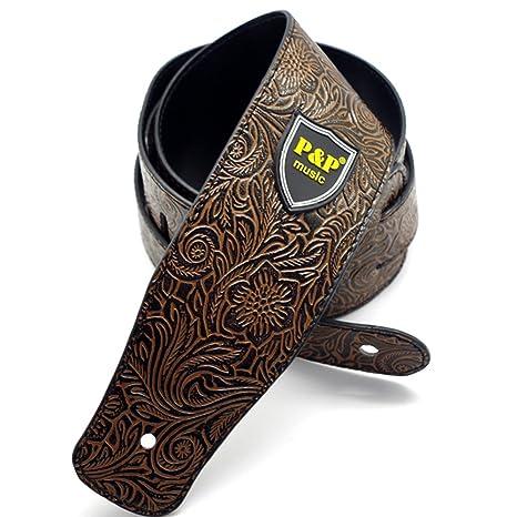 Correa ajustable de guitarra - correa de cuero de textura de piel de serpiente para bajo