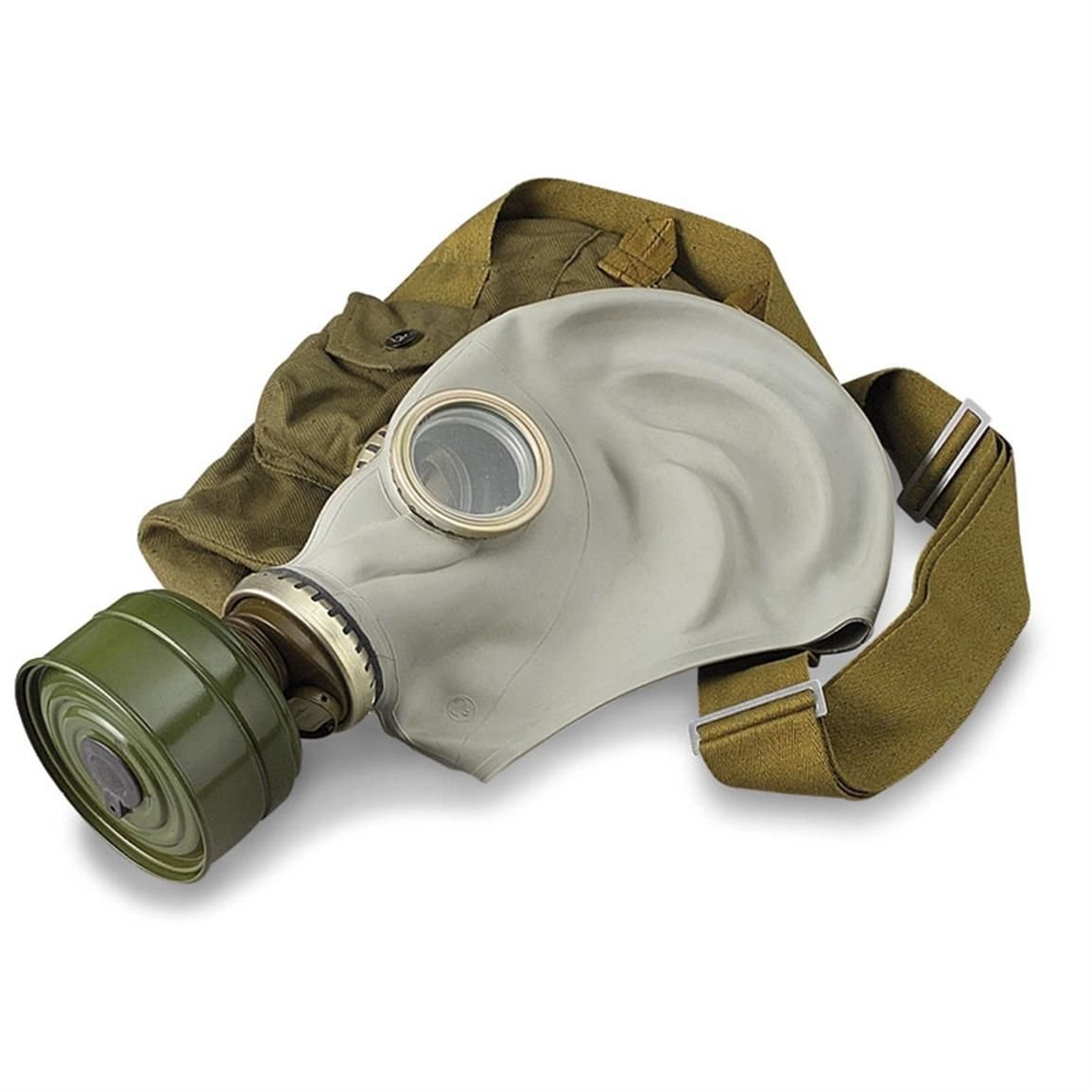 GP-5 Original Soviet Civilian Protective Gas Mask (activated Charcoal filter and bag included) (Medium, white) - - Amazon.com