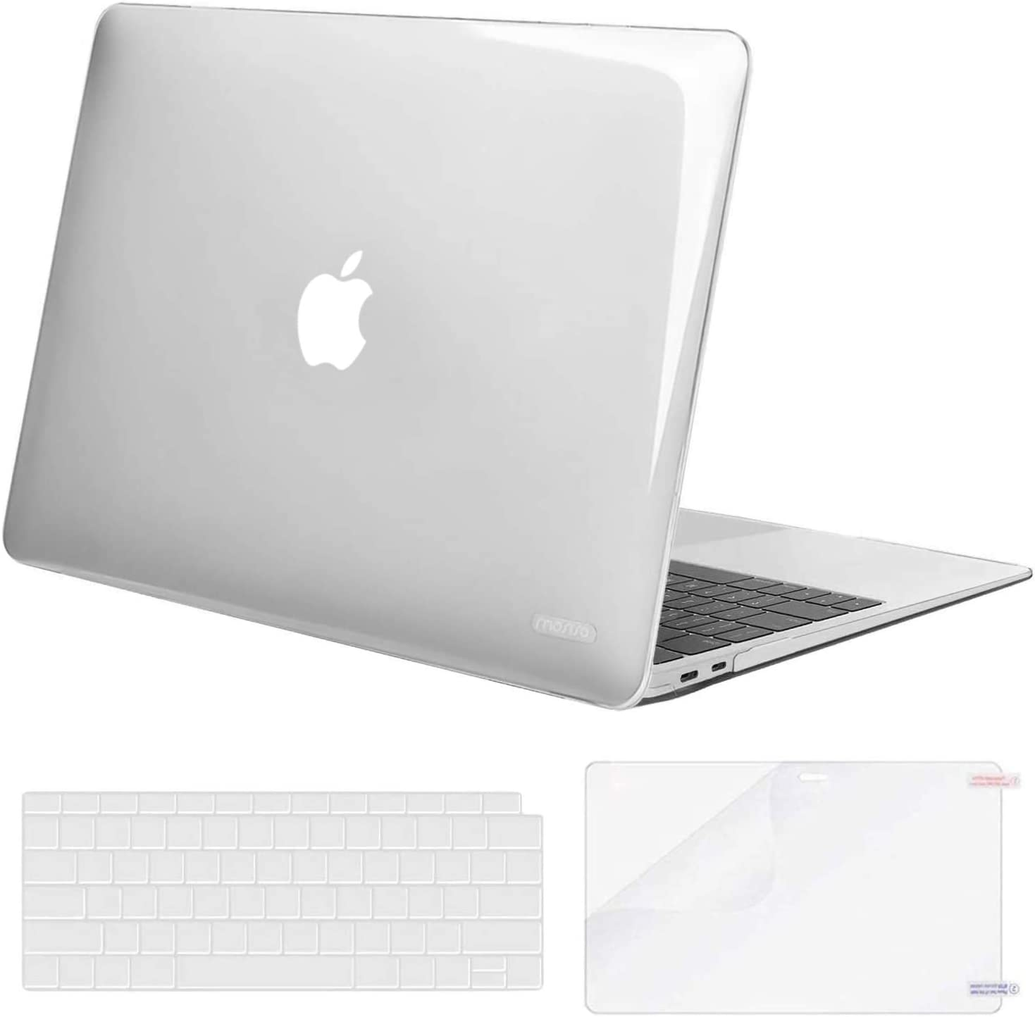 MOSISO MacBook Air 13 inch Case 2020 2019 2018 Release A2179 A1932, Corner Protective Plastic Hard Shell&Keyboard Cover&Screen Protector Compatible with MacBook Air 13 inch Retina Display, Transparent