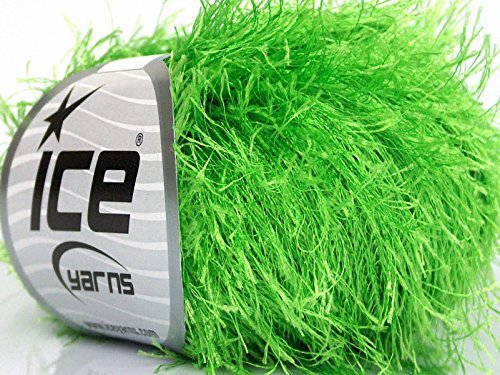 Bright Green Eyelash Yarn, 50 Gram (Green Lime Eyelash Yarn)