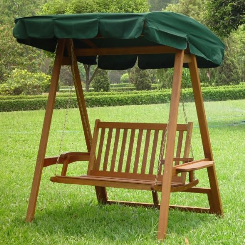 Two Seat Garden Patio Swing Bench With Green Sunshade Canopy