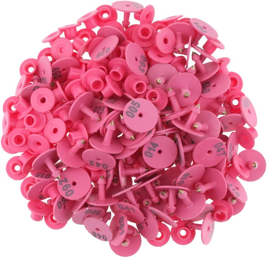 Almencla 100PCS Numbered Livestock Ear Tag For Pig Cow Cattle Goat Sheep Pink safe to animals; brass ear stud never rust