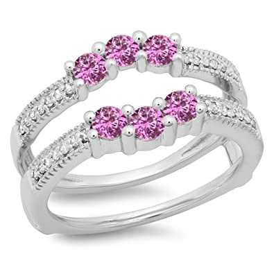 2d374ca9ef463 Amazon.com: Dazzlingrock Collection 14K Gold Round Cut Pink Sapphire ...