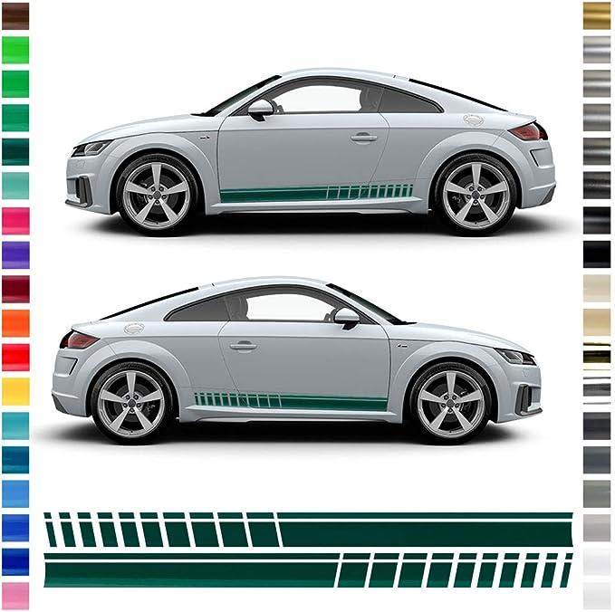 Auto Dress Seiten Streifen Aufkleber Set Dekor Passend Für Audi Tt In Wunschfarbe 110 Black Gloss Auto