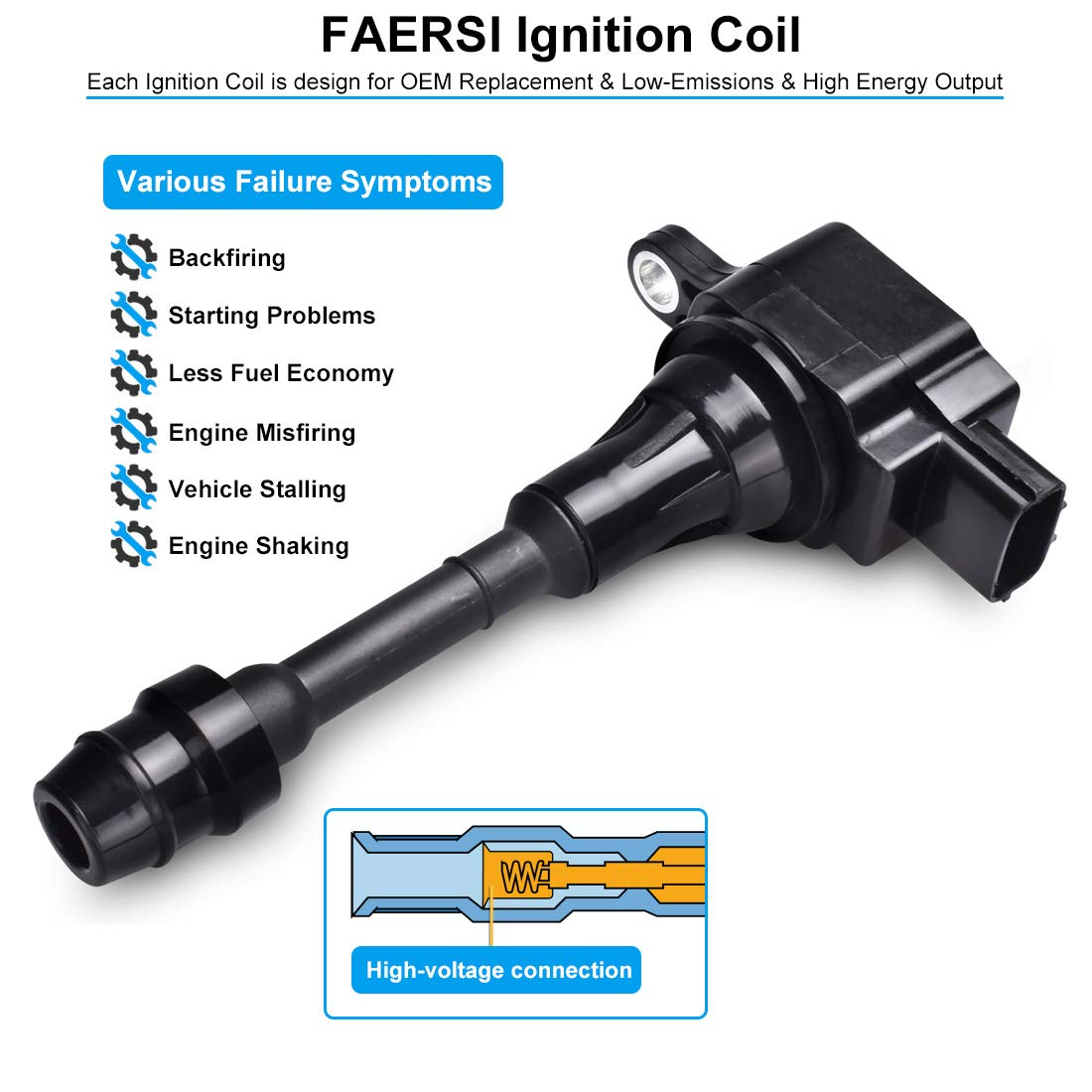 Ignition Coil Pack of 4 Replace# UF350 2002-2008 Nissan Sentra 2002-2006 Nissan Altima 22448-8H310 2002-2008 /& 2010-2013 Nissan X-trail 22448-8H315 C1398 for L4 2.5L