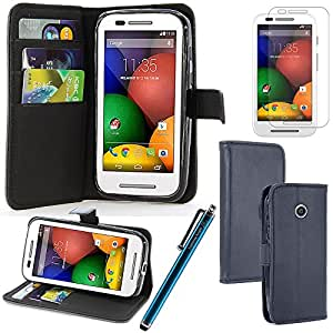 LK Motorola Moto E Wallet PU Leather Case Flip Cover Built-in Card Slots & Stand with Free Screen Protector & Stylus (Blue)