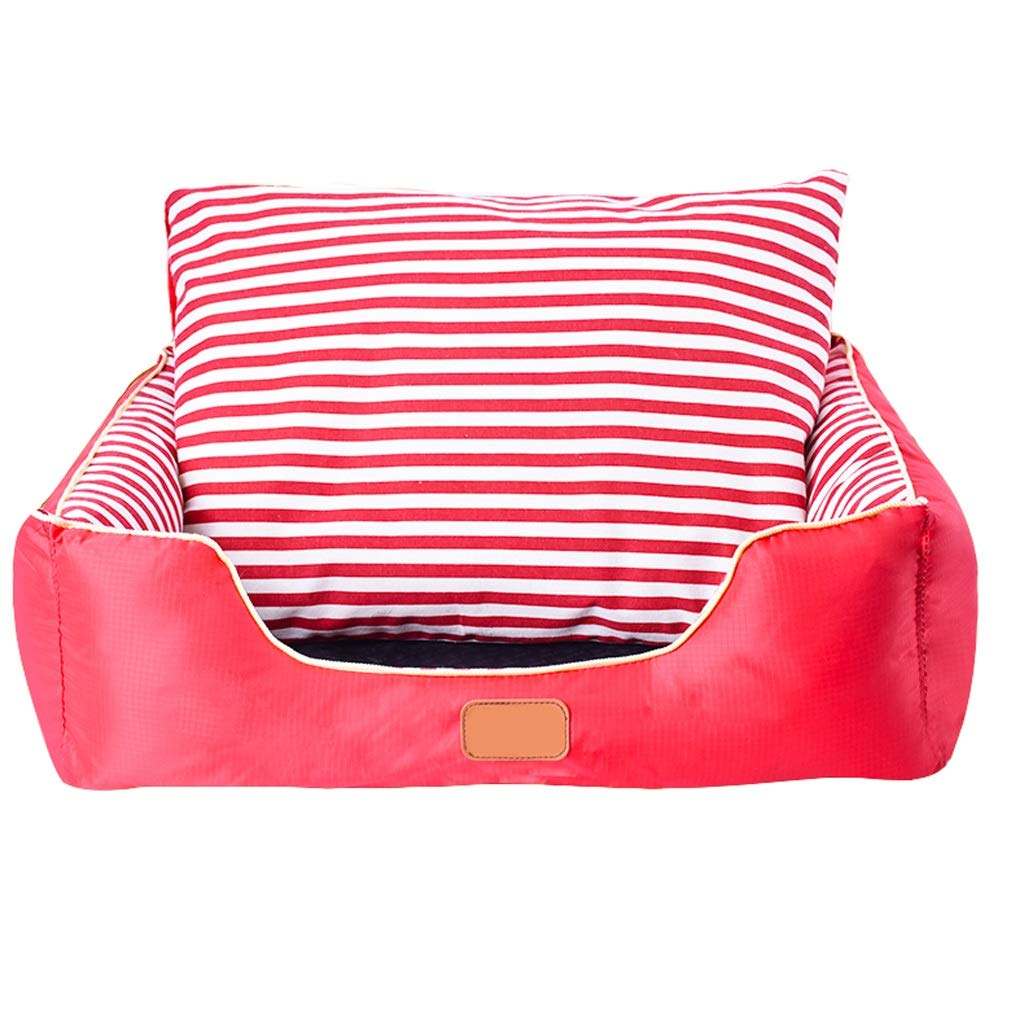 Red Stripes Large Red Stripes Large B&F Kennel, Small Dog Kennel Winter Warm Pet Nest Medium Large Dog Washable Dog Kennel Indoor Nest (color   Red stripes, Size   L)