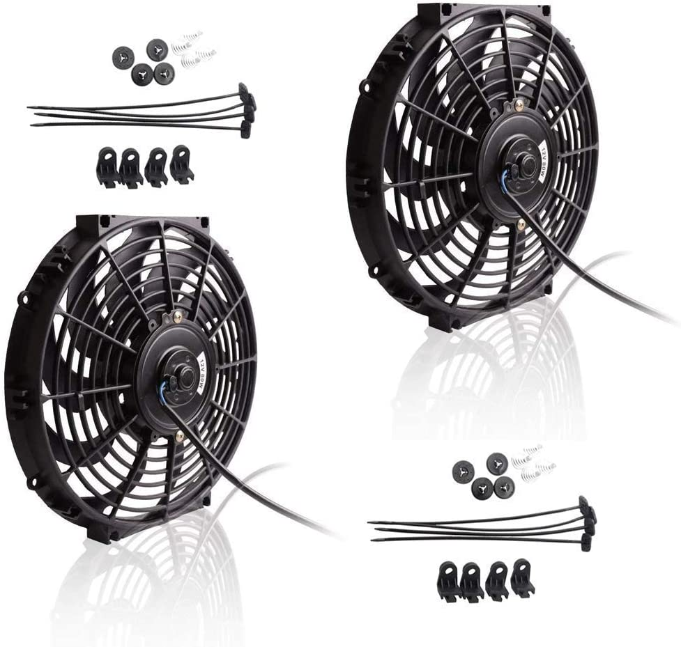 "Upgr8 2 Pack Universal High Performance 12V Slim Electric Cooling Radiator Fan With Fan Mounting Kit (10"" 2-Pack)"