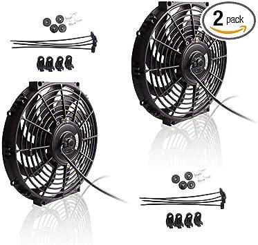 "2 X Black 12/"" Inch Electric Radiator Slim Fan S Blade Set Cooling Universal"