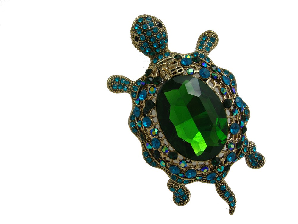 TTjewelry Vintage Style Tortoise Crystal Brooch Turtle Rhinestone Pin Classic Woman Animal Decorative Jewelry (Green)