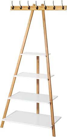 SoBuy® - Estantes con forma de escalera, perchero de almacenamiento, FRG134-WN, con 4 estantes, 7 ganchos: Amazon.es: Oficina y papelería