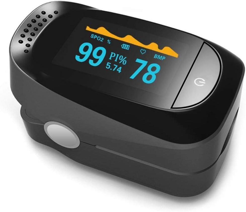 Oxímetro de Dedo, YZCX Pulsioximetro de Dedo Profesional con Pantalla OLED con Función de Monitorización de SpO2 / PR/PI/Sleeping (Negro)