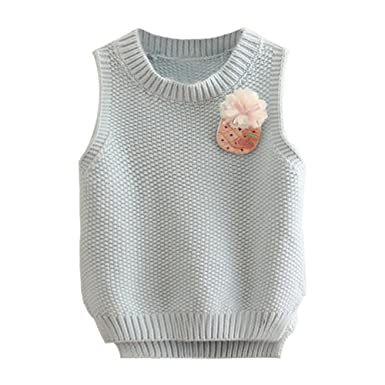 5d9e684877b0 Amazon.com  Mud Kingdom Little Girls  Knitted Sweater Vest With Cute ...
