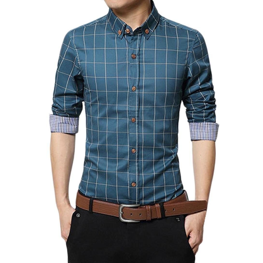 Pervobs Long Sleeve Shirts, Big Promotion! New Men's Autumn Long Sleeve Plaid Shirt Casual Social Slim Fit Formal Blouse Top (M, Blue)
