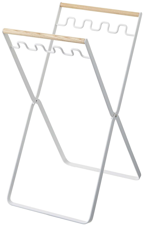 YAMAZAKI Tosca Grocery Bag Holder- Foldable Wood & Metal Rack
