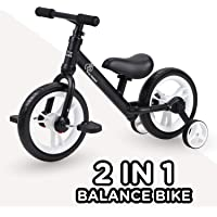 R for Rabbit Tiny Toes Trainer Plus Balance Bike - Multi Purpose 2 in 1 Balance Cycle Cum Tricycle for Kids of 2 to 5 Years Age(Black)