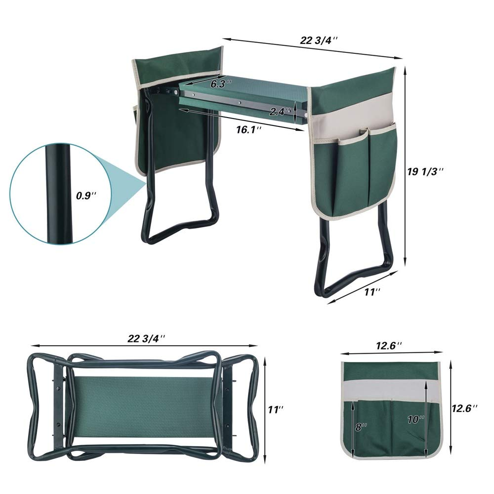 YANEE Foldable Kneeler Garden Bench Stool Soft Cushion Seat Pad Cushion Kneeling, Tool Pouch, Material: Steel Pipe, EVA, Dimensions: 22 3/4'' W × 11'' D × 19 1/3'' H by YANEE (Image #6)