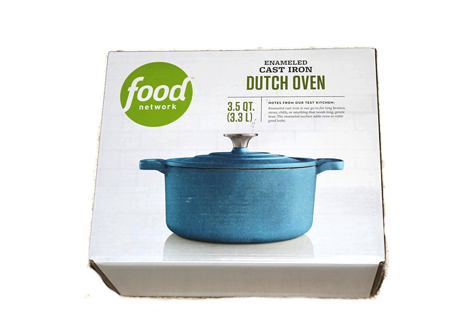 Amazon.com: Food Network 3.5 qt Enameled Cast-Iron Dutch Oven Light ...