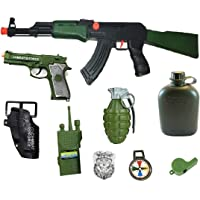 HALO NATION® Military Friction Combat Force 9 Piece Boys Toys Playset with Friction Gun , Pistol & Cover, Bomb , Bottle , Phone & More