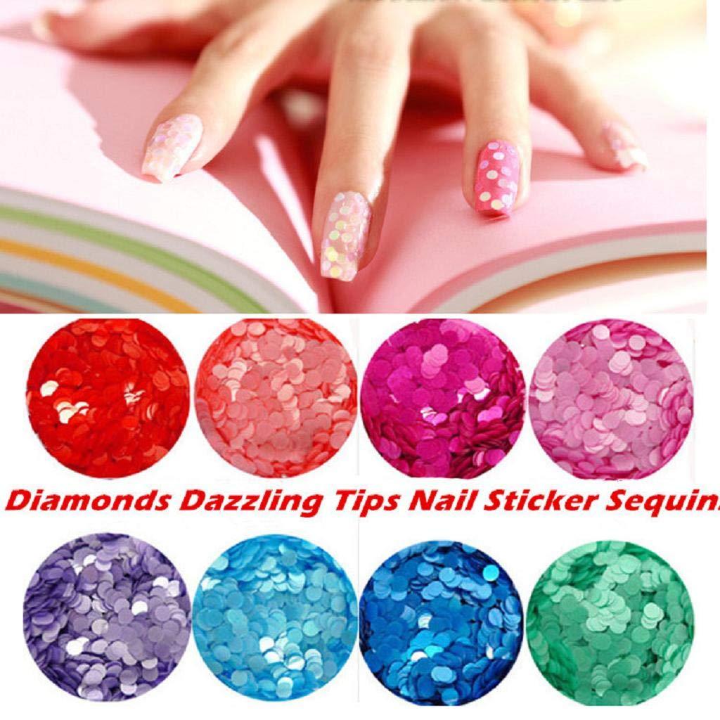 QUICKLYLY Uñas/Manicura-Diamantes Dazzling Tips Nail Sticker Lentejuelas Colorido Arte De Uñas Decoración: Amazon.es: Belleza