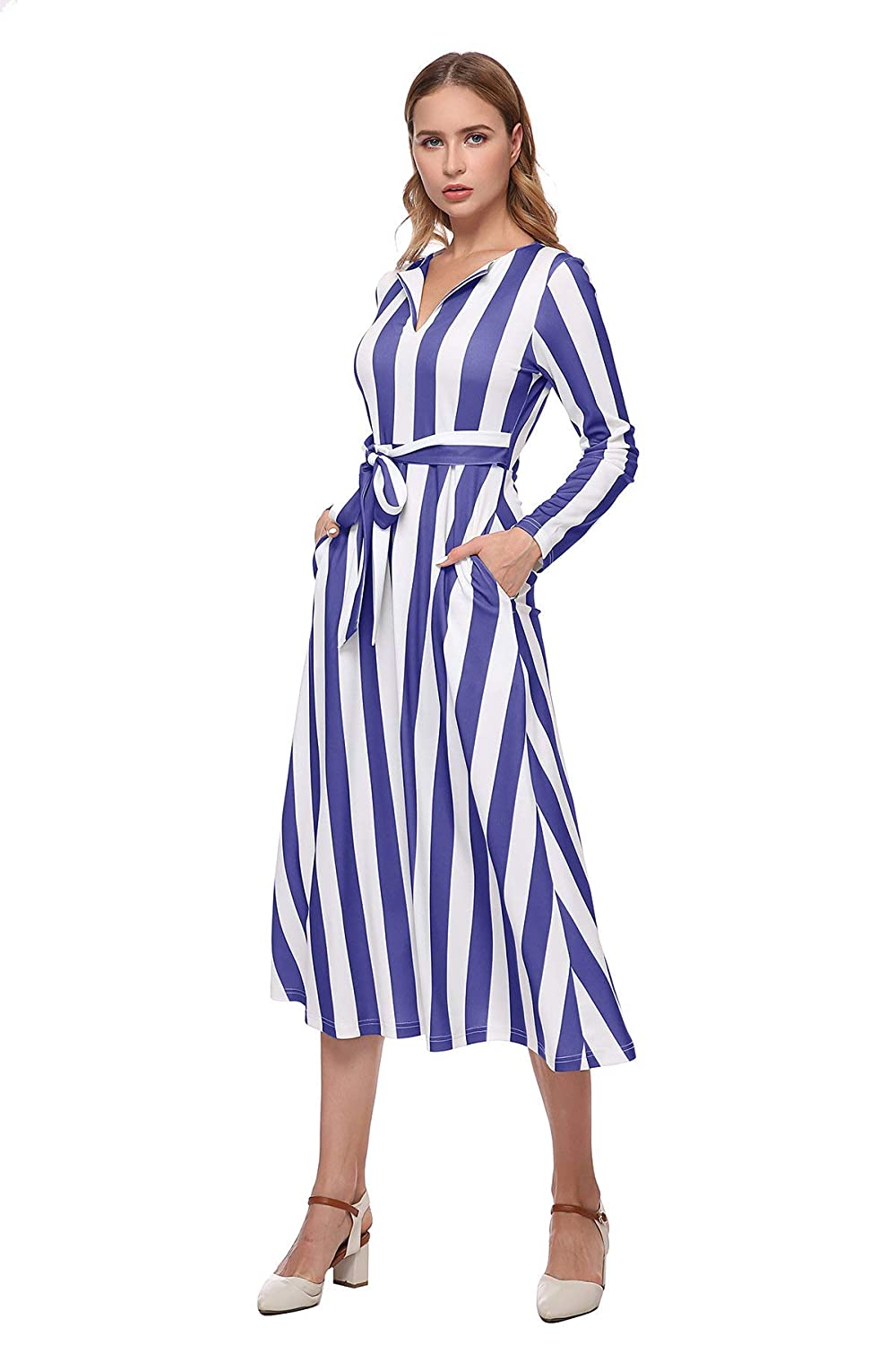 Sailor Dresses, Nautical Theme Dress, WW2 Dresses HUMELYAN Womens Striped/Floral/Leaf/Color Block Long Sleeve Aline Flowy Pockets Maxi Dress (Petite - Plus) $22.99 AT vintagedancer.com