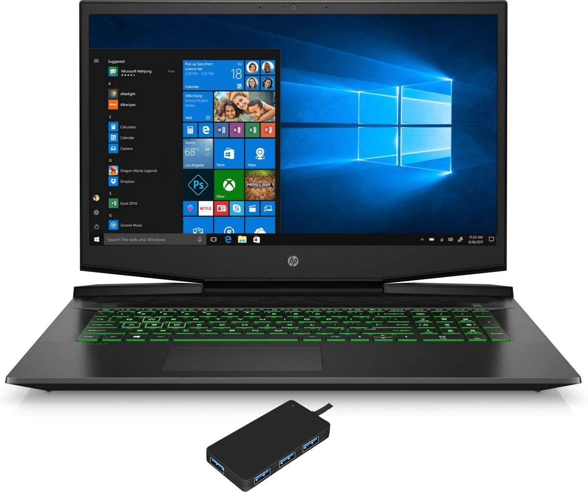 "HP Pavilion 17-cd1023nr Gaming and Entertainment Laptop (Intel i7-10750H 6-Core, 64GB RAM, 512GB PCIe SSD, NVIDIA GTX 1650, 17.3"" Full HD (1920x1080), Fingerprint, WiFi, Win 10 Home) with USB Hub"