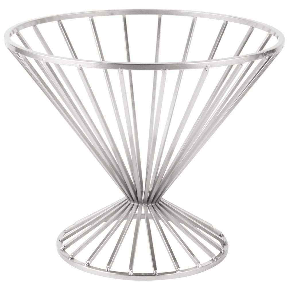 G.E.T. Enterprises IRB-102C 10.75'' Round Basket with Base, 9.5'' Tall, Iron Chrome Plated