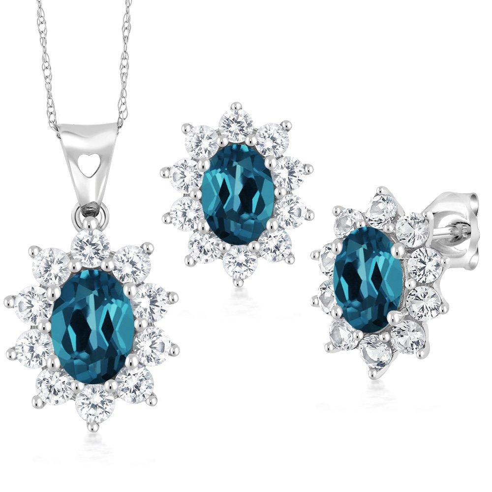 3.10 Ct Oval London Blue Topaz 10K White Gold Pendant Earrings Set