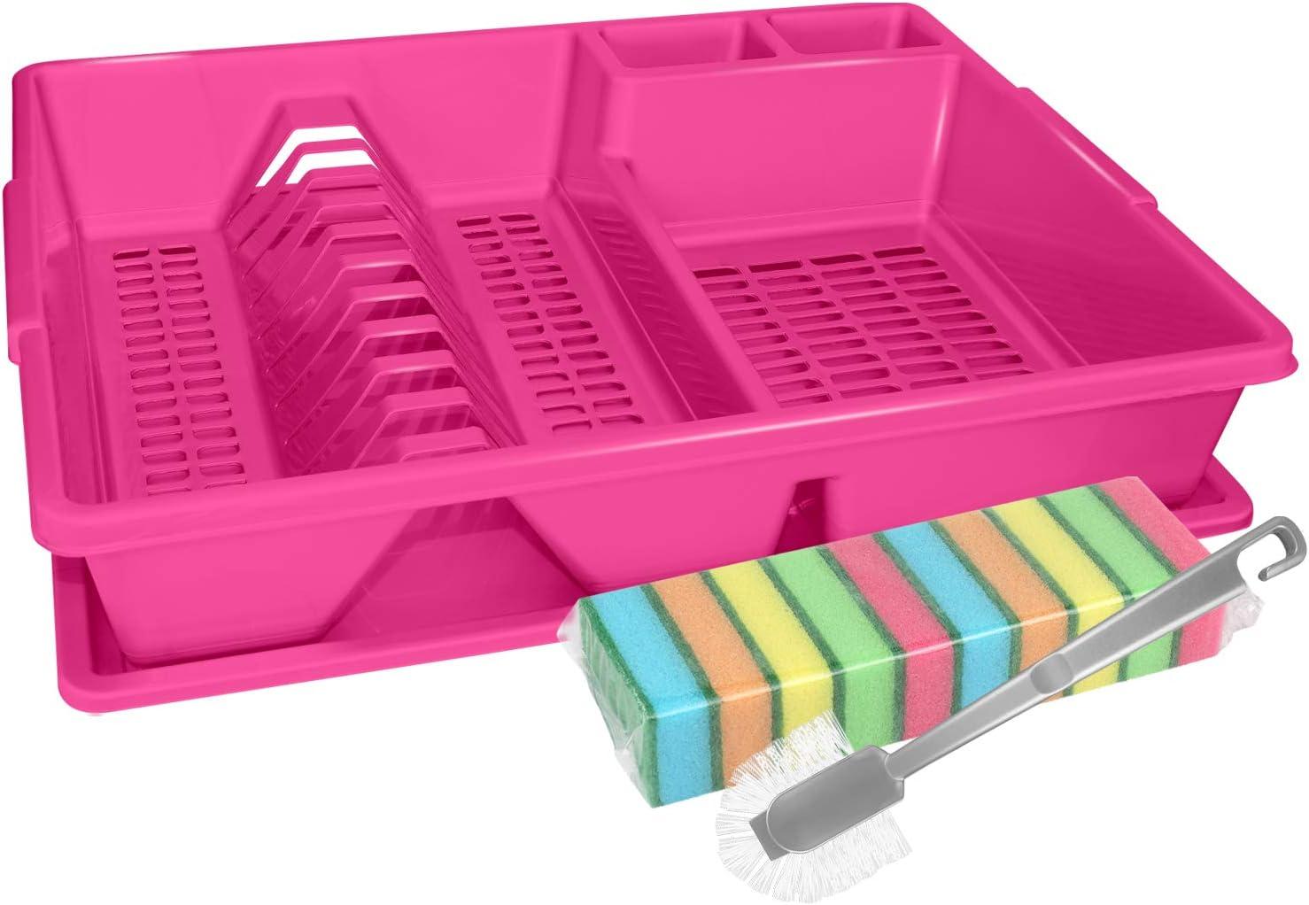 Escurreplatos aprox 44 x 35 x 9 cm color: rosa largo x ancho x alto Estructura de escurrido Wellgro Soporte para vajilla Escurreplatos cepillo de limpieza y 10 esponjas