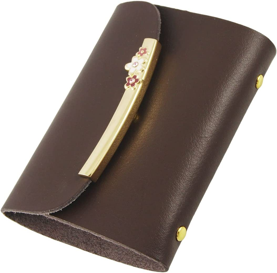 Uxcell Faux Leather Gold Tone Metallic Detailing Business Card Holder, Brown