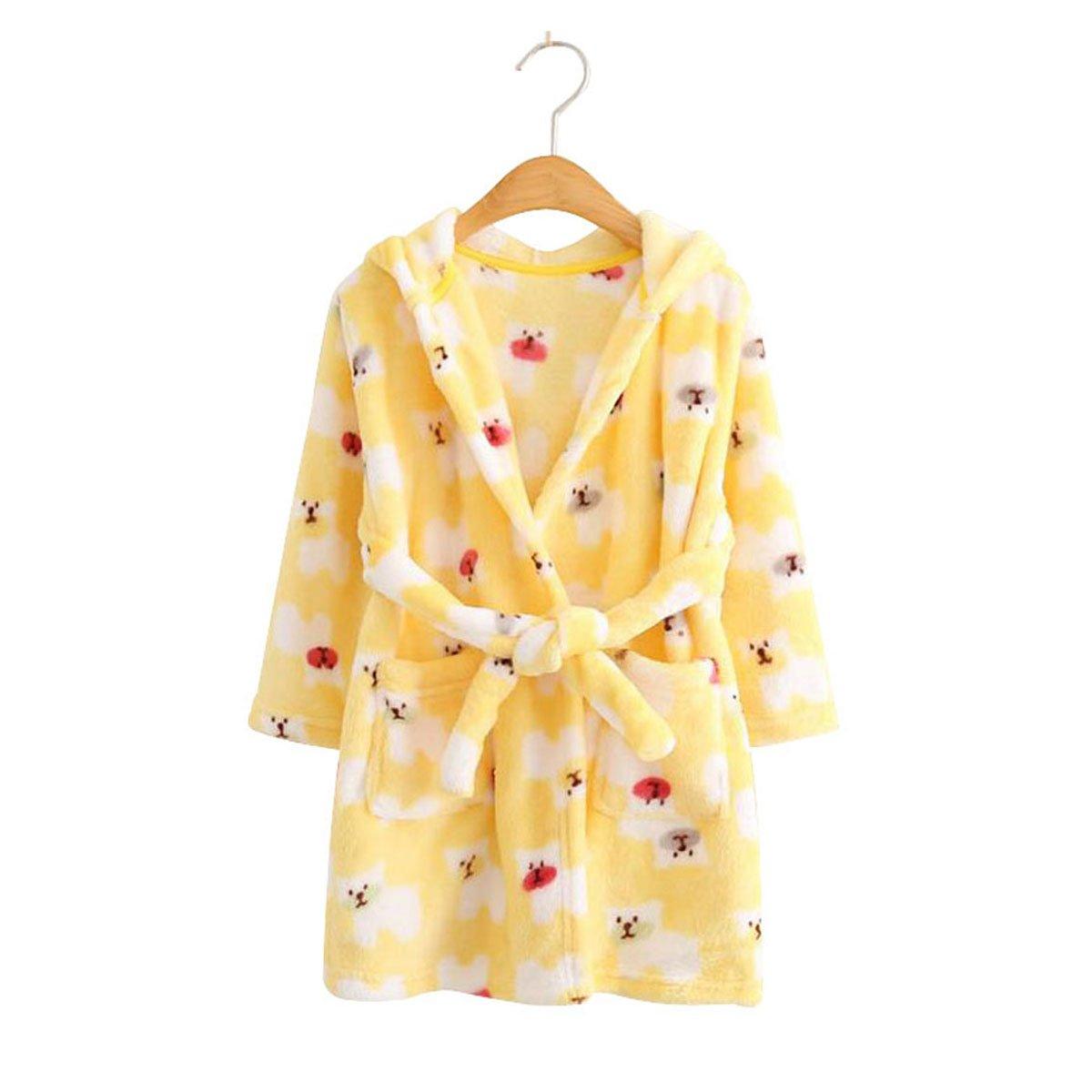 Kids Coral Fleece Bathrobe Robe Boys And Girls Hooded Robe Shawl Toddler Pajamas (4T, Yellow Polar bear)