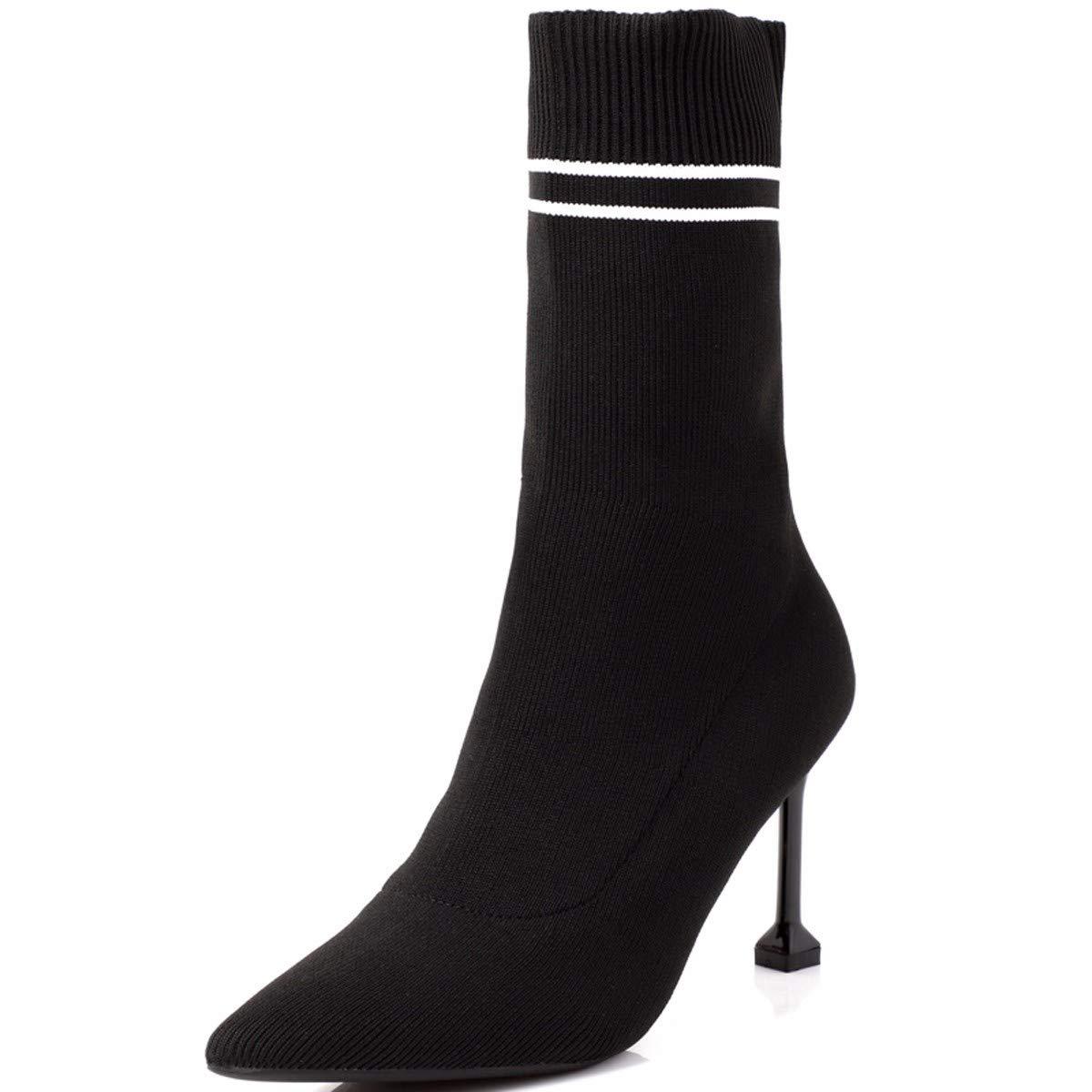 HBDLH Damenschuhe Kurzer Lauf Sock Stiefel Absatz 8 cm cm cm Hohe Spitze Dünne Sohle Gummi Stiefel Nahen Barrel 100 Setzt Dünnen Stiefel c016f7