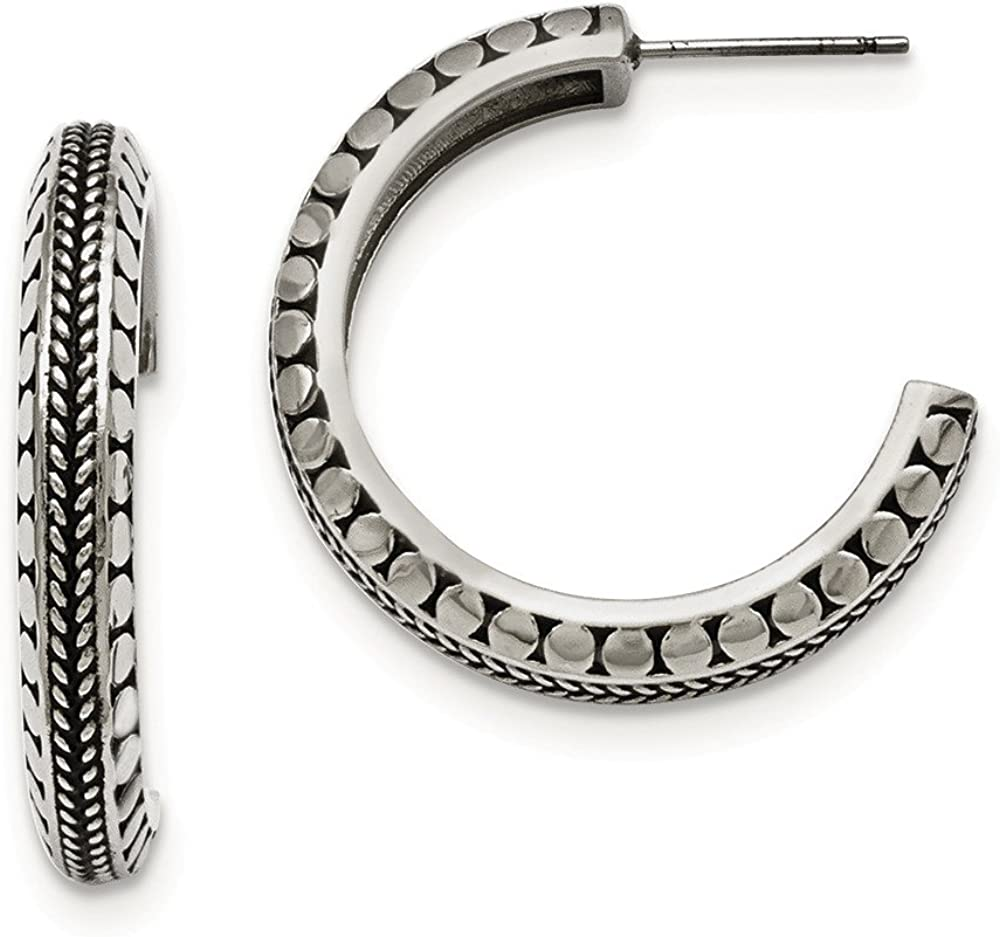 Stainless Steel Polished and Antiqued Post Hoop Earrings