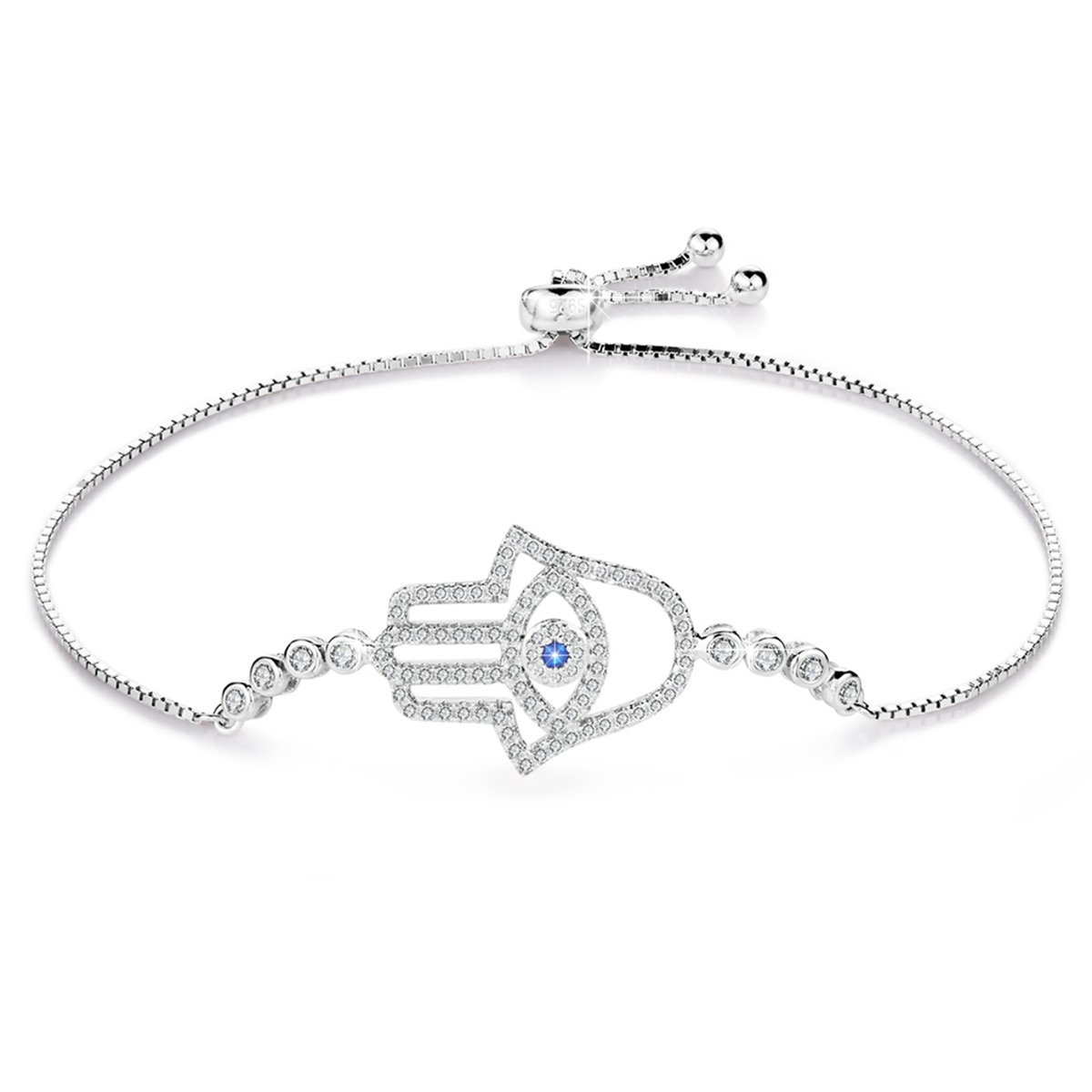 BAMOER 925 Sterling Silver Expandable Lucky Blue Evil Eye Chain Bracelet with Sparkling Cubic Zirconia for Women Girls Style 8 by BAMOER