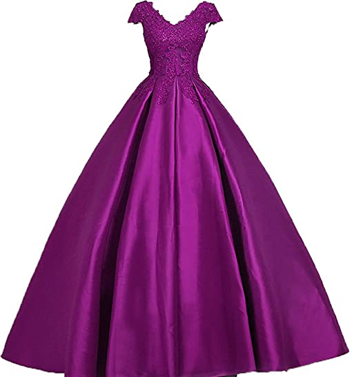Bonnie Lace Bodice Prom Dresses Long Satin Ball Gown Cap Sleeves Formal Evening Dresses BS034
