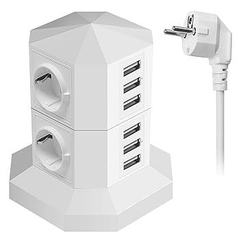 5V 2,4A Multiprise USB avec 6.6ft Rallonge Electrique,Interrupteur,Adaptateur Douille Tour Multiprises Parafoudre et Surtension,Powerjc 4 Prises Electrique Informatique 6 Ports