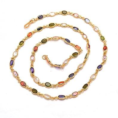Buy Jewar Mandi Chain 20 Inch Gold Plated Handmade Multi Stone