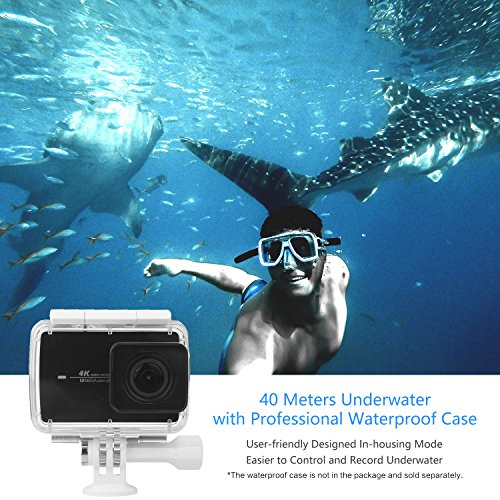 "61N1jrR%2B0zL - YI 4K Action Camera, 4K/30fps Video 2h Recording Time with 2.2"" Touch Retina Screen Sony IMX377 Image Sensor Live Sports Camera 40 Meters Waterproof Camera (Waterproof Case Not Included)"