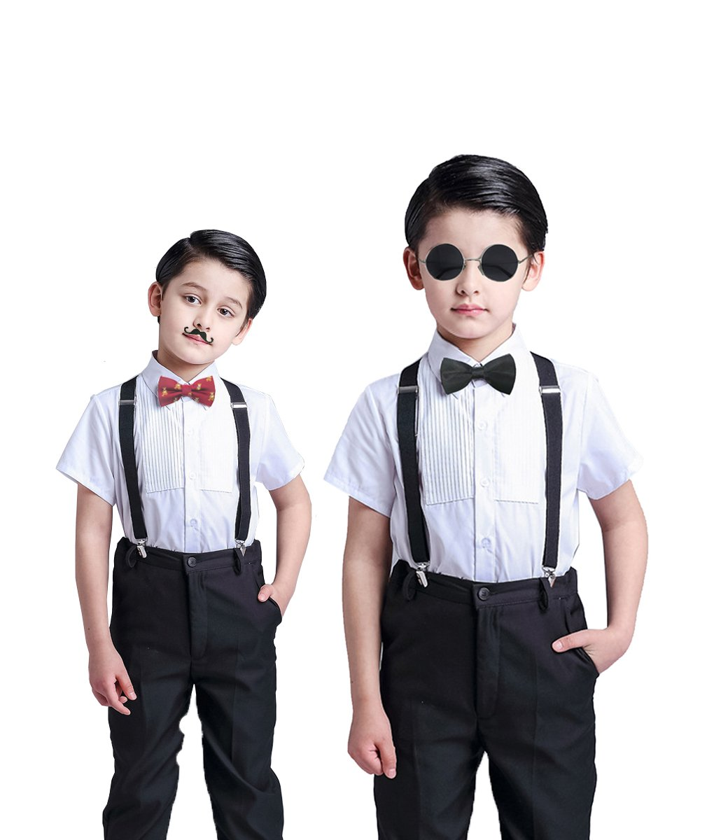 Boys Kids Suspenders, Pre-Tied Bow Tie & Skinny Tie, Fake Beard Accessory Set