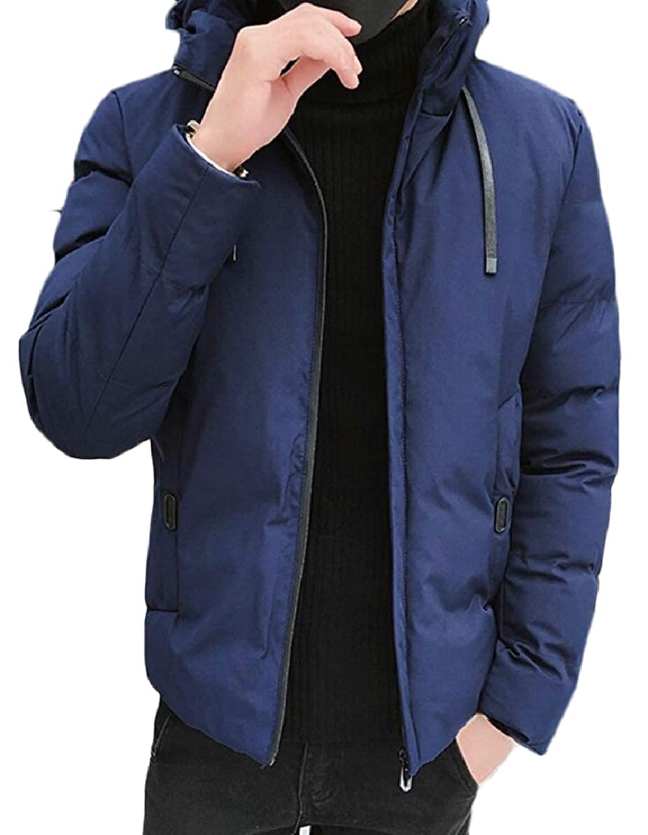FLCH+YIGE Mens with Hood Warm Hipster Winter Thick Quilted Front-Zip Down Jacket Coat