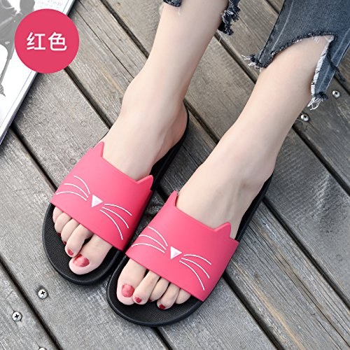 a summer cool non cat slip bathroom The 35 has slippers bath plastic Red female cute stay slippers indoor fankou soft home slippers thick bottom Ht4nx