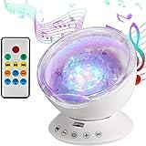 Lampe Projecteur LED, Simulation des Vagues Océan 7 Modes Veilleuse Enfant avec Télécommande Mini Enceinte Intégrée (Blanc)