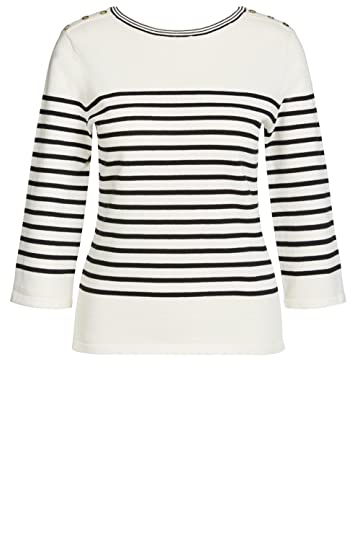 8696063ed4e586 Oui Black & Off White Striped Sweater: Amazon.co.uk: Clothing