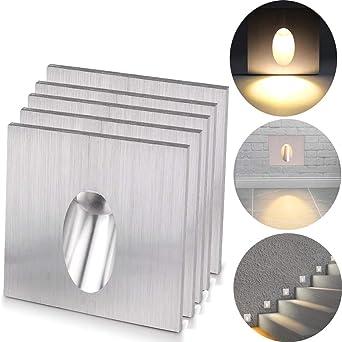 ALLOMN Lámpara empotrada LED de pared, apliques de pared Luz cuadrada Escotada LED Escaleras escalonadas Lámpara Porche Luz de paso 1W Bombilla de sótano CA 100-245V (Blanco Cálido, 5 PCS): Amazon.es: Iluminación