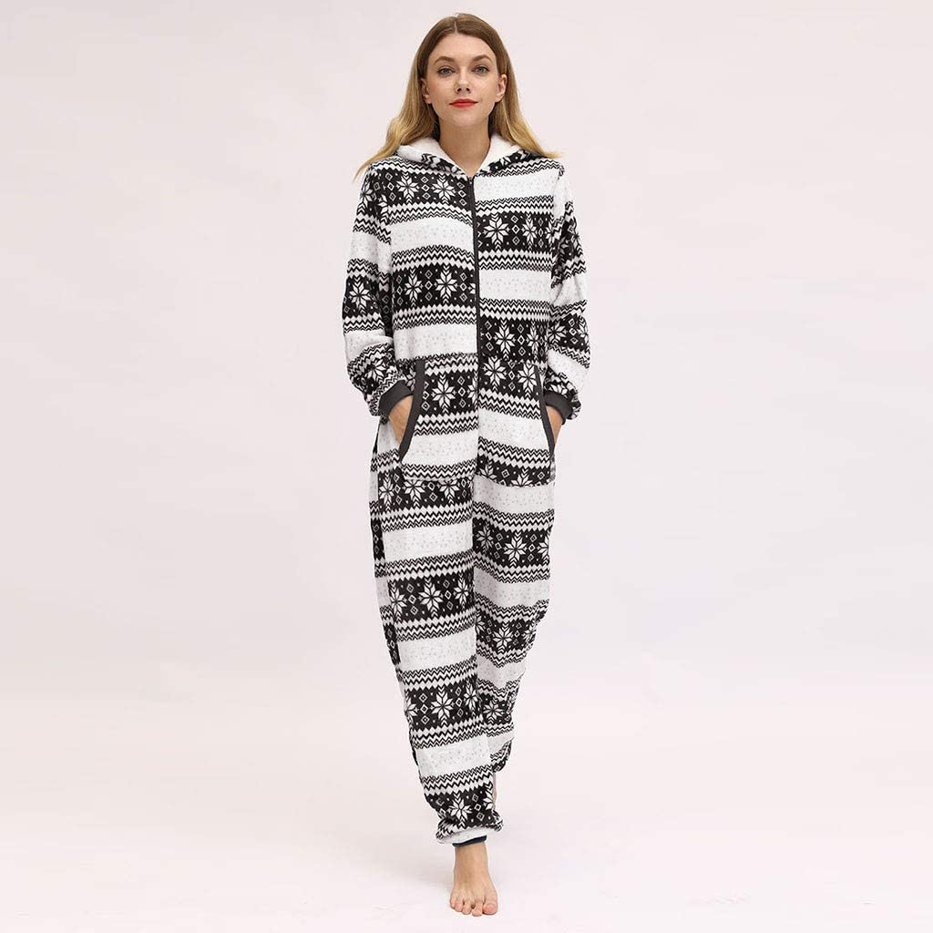 Bravetoshop Ugly Christmas Adult Onesie Flannel Pajamas Reindeer Print Xmas Holiday Hooded Jumpsuit Sleepwear